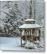 Falling Snow - Winter Landscape Metal Print