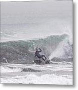 Falling Surfer In Falling Snow Metal Print
