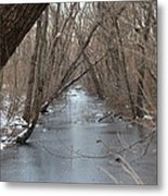 Falling Trees On A Frozen Canal Metal Print