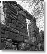 Falling Wall Jerome Black And White Metal Print
