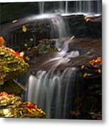 Falls And Fall Leaves Metal Print