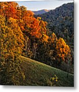 Fall's Mountainside Cascade Metal Print