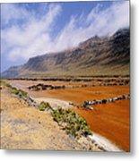 Famara Cliffs And Salinas Del Rio On Lanzarote Metal Print