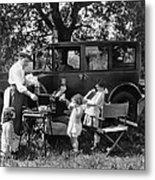 Family Camping Metal Print
