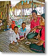 Family In Countryside Outside Of Siem Reap-cambodia Metal Print
