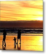 Family In The Yellow Spotlight Metal Print