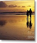 Family On Beach With Dog Sunset Metal Print