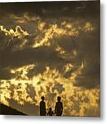 Family On Hillside Holding Hands And Facing Life Together. Metal Print