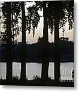 Family Silhouetted By Lake Metal Print