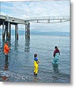 Family Surf Fishing In Kachemak Bay Off Homer Spit-ak Metal Print