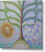 Family Tree Chart Sun Moon And Stars Metal Print by Alix Mordant