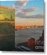 United Nations Secretariat With Chrysler Building Reflection Metal Print