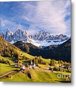 Famous View St Magdalena With Odle Mountains In The Dolomites Italy Metal Print