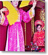Fan Dancer And Monochord Player In Court Music Show At Citadel Of Nguyen Dynasty In Hue-vietnam Metal Print