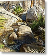 Fan Palm Leaves And Shadows Over Andreas Creek Rocks In Indian Canyons-ca Metal Print