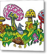 Fanciful Mushroom Nature Doodle Metal Print