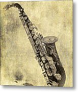 Fancy Antique Saxophone In Pastel Metal Print