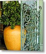 Fancy Gate And Plain Pot Metal Print