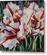 Fancy Parrot Tulips Metal Print