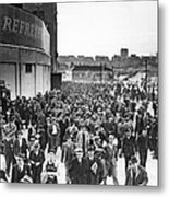 Fans Leaving Yankee Stadium. Metal Print by Underwood Archives