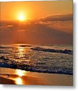 Fantastic Sunrise Colors Clouds Rays And Waves On Navarre Beach Metal Print