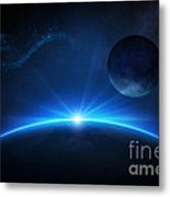 Fantasy Earth And Moon With Sunrise Metal Print by Johan Swanepoel