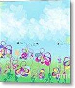 Fantasy Flower Garden - Childrens Digital Art Metal Print