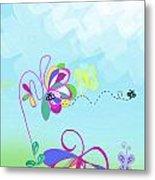 Fantasy Garden Chisdren's Art - Side Panel 2 Metal Print