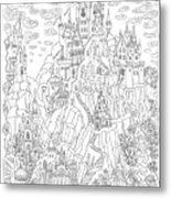 Fantasy Landscape. Fairy Tale Castle On Metal Print