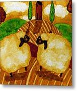 Farm Animals Countryside Sheep Italian Whimsical Folk Debi Hubbs Children Art Metal Print