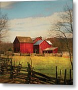 Farm - Barn - Just Up The Path Metal Print by Mike Savad