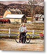 Farm Boys Country Exchange Metal Print by Randall Branham