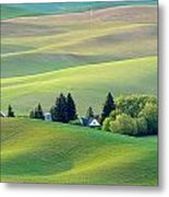 Farm Buildings Nestled In The Palouse Country Metal Print