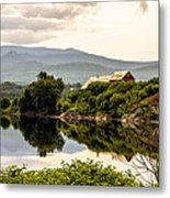 Farm By The Connecticut Metal Print