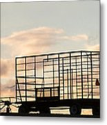Farm Equipment At Sunset Metal Print