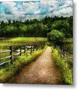 Farm - Fence - Every Journey Starts With A Path  Metal Print