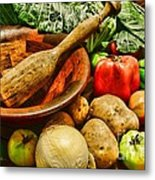 Farm Fresh Food In A Country Kitchen Metal Print