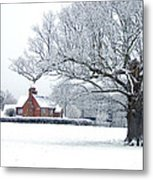 Farm House And Oak Tree Metal Print