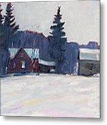 Farm In The Snow Metal Print