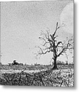 Farm Machinery At Moonlight Metal Print