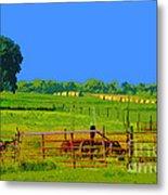 Farm Photo Digital Paint Style Metal Print