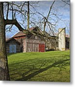 Farm Scene With Barns And Silo Metal Print