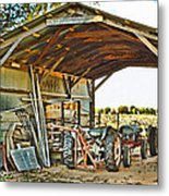 Farm Shed Digital Watercolor Metal Print