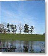 Farm Sky And Pond Metal Print