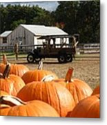 Farm Stand Pumpkins Metal Print by Barbara McDevitt