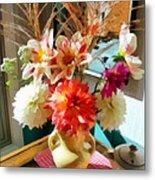 Farm Table Bouquet Metal Print
