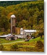 Farm View With Mountains Landscape Metal Print