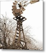 Farm Windmill In Sepia Metal Print