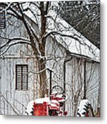 Farmall Tractor In Winter Metal Print