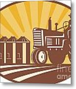 Farmer Driving Vintage Tractor Retro Woodcut Metal Print